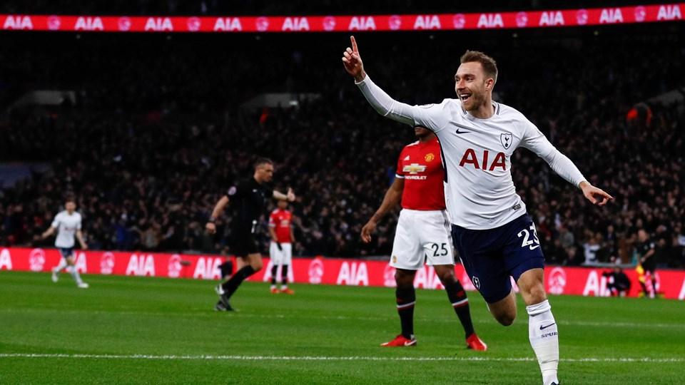 Christian Eriksen scorede sæsonens hurtigste mål i Premier League, da Tottenham slog Manchester United. Foto: Scanpix/Adrian Dennis