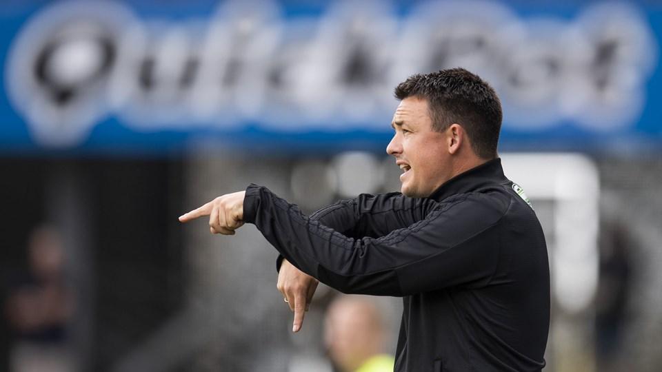 Lyngbys cheftræner Thomas Nørgaard sender på torsdag sit hold på banen i Hjørring mod Vendsyssel fra 1. division i den første af to kampe, der gælder en plads i Superligaen i næste sæson. Der er returkamp søndag i Lyngby. Foto: Scanpix/Bo Amstrup