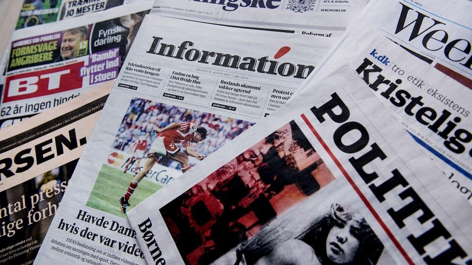 Flere aviser bringer som sædvanligt falske nyheder i anledning af 1. april. Scanpix/Liselotte Sabroe/arkiv