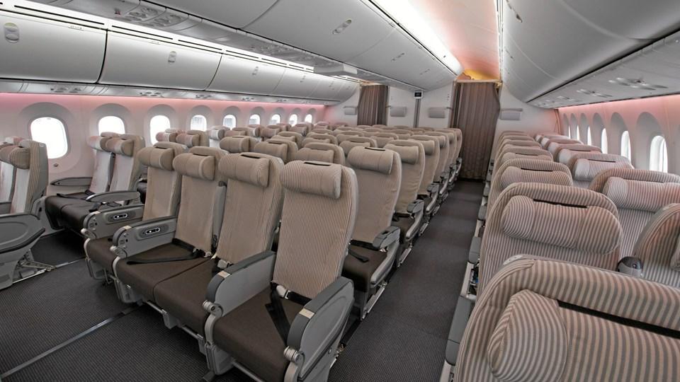Det var i et stort Boeing 787 Dreamliner-fly som dette, at en passager angiveligt smadrede en flyrude med kun et enkelt slag. Arkivfoto
