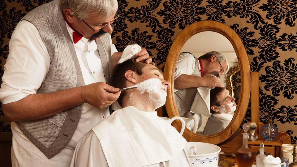 De gammeldags barbershops bliver mere og mere populære. Foto: Iris/Scanpix