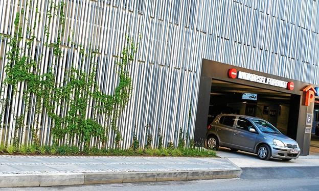 Buus & Co. har netop stået for den grønne, klimarigtige beplantning af det nye P-hus på Aalborg Østre Havn. Om kort tid vil alle fire facader være helt grønne af slyngplanter alle otte etager op. Foto: Svenn Hjartarson
