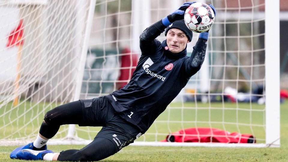 Jacob Rinne drømmer om at komme til en større liga, men han forventer at spille sæsonen færdig i AaB. Foto: Torben Hansen