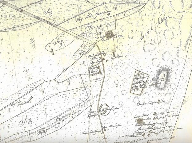 På sognekortet fra 1810 ses kaperkaptajn Westenholtz gård længst til venstre. Her slog pastor Lars Kjelder sig ned i 1817. LOKALHISTORISK ARKIV SKAGEN