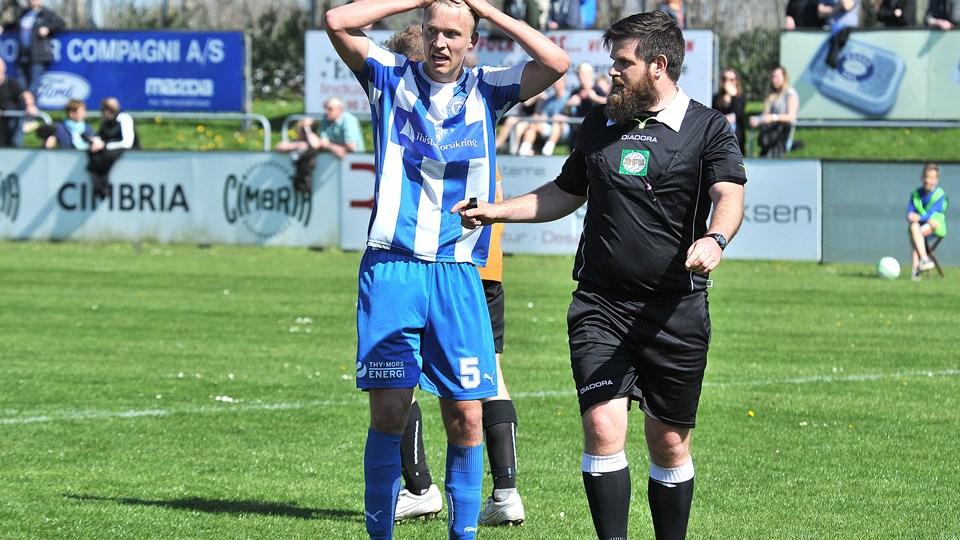 Mads Lauritsen blev Thisted FC's enlige målscorer søndag, men det var ikke nok til point mod FC Skanderborg, som nettede to gange på hjemmebane. Foto: Ole Iversen