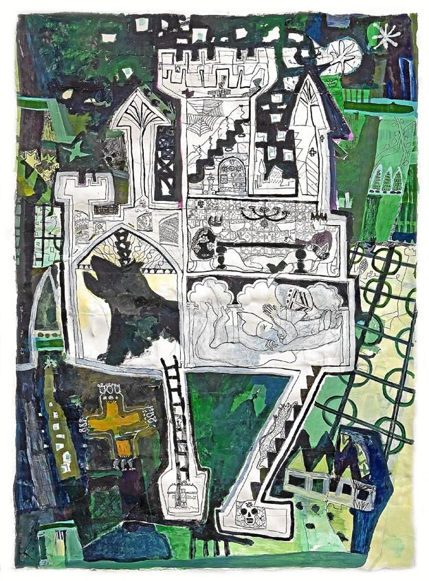 """På udstillingen kan man bl.a. se dette værk af Marianne Thygesen. Det hedder """"Slottet"""" og måler 140 x 100 cm. Privatfoto"""