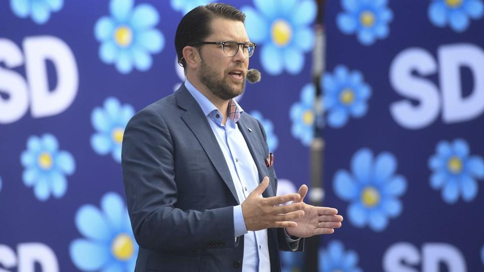 Sverigedemokraternas partileder, Jimmie Åkesson, under et valgmøde torsdag på Stora Torget i Motala. Foto: 10080 Fredrik Sandberg/TT/Ritzau Scanpix