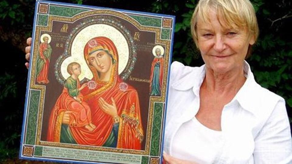 Birte Nielsens ikon er et motiv af Jomfru Maria med Jesusbarnet - et yndet motiv på de yderst hellige malerier. privatfoto Birthe Nielsen laver ikon til Zarinde Dagmars begravelse