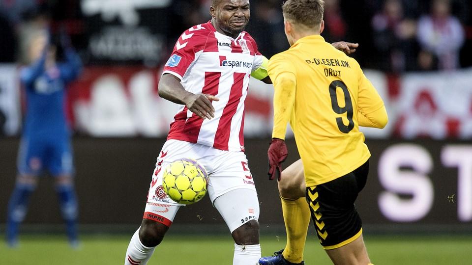 Jores Okore havde ikke en heldig dag imod AC Horsens. Foto: Lars Pauli