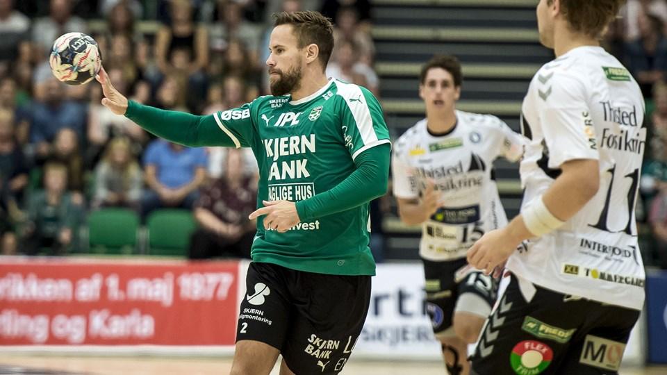 Skjern og Thomas Mogensen vandt onsdag aften med 27-24 hjemme over Mors-Thy. Thomas Mogensen blev skadet i kampen. Foto: Jørgen Kirk/Ritzau Scanpix