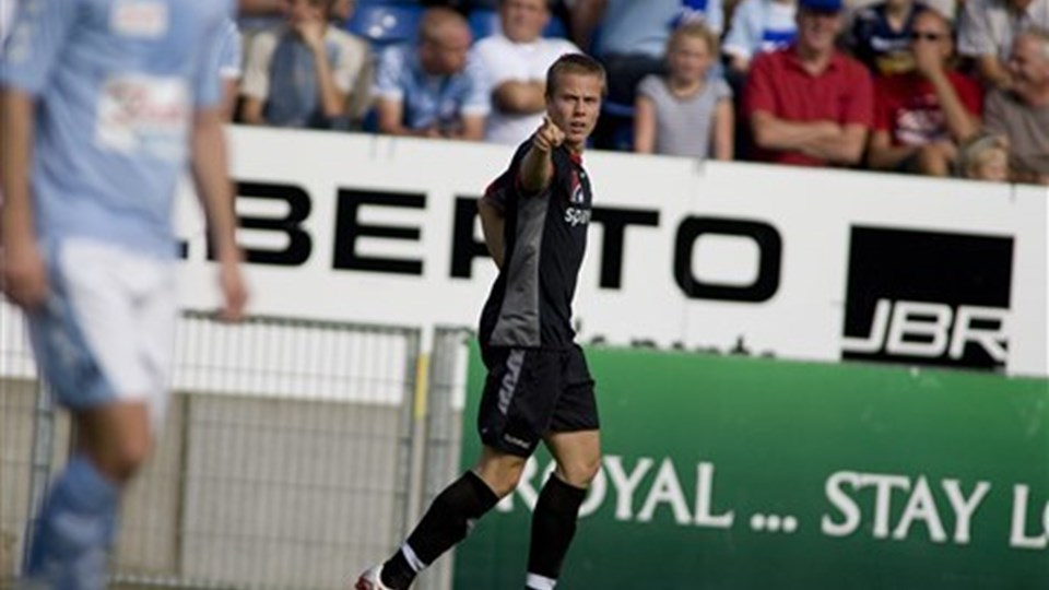 Jeppe Curth scorede til 1-0 på et frækt fladt langskud. Foto: Scanpix ,Jeppe Curth scorede til 1-0 på et frækt fladt langskud. Foto: Scanpix
