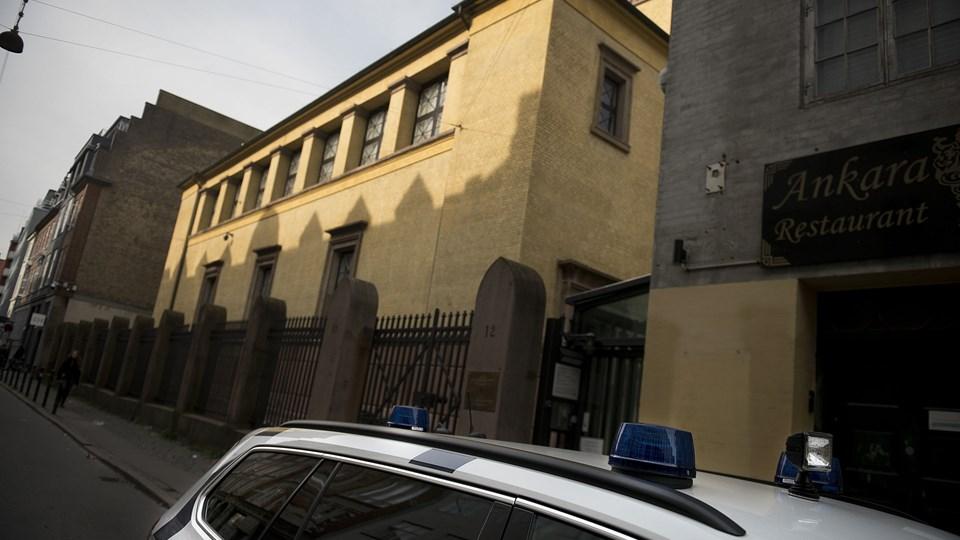 Lørdag blev en betjent ramt af et vådeskud i synagogen i København. Foto: Scanpix/Liselotte Sabroe/arkiv