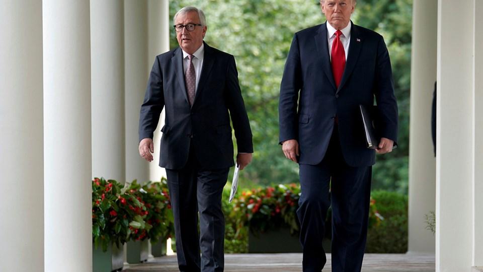 EU-Kommissionens formanden, Jean-Claude Juncker, og USA's præsident, Donald Trump, der her ses ved topmødet i Washington sidste sommer, kan nu begynde forhandlinger om toldsatser og handelsregler.