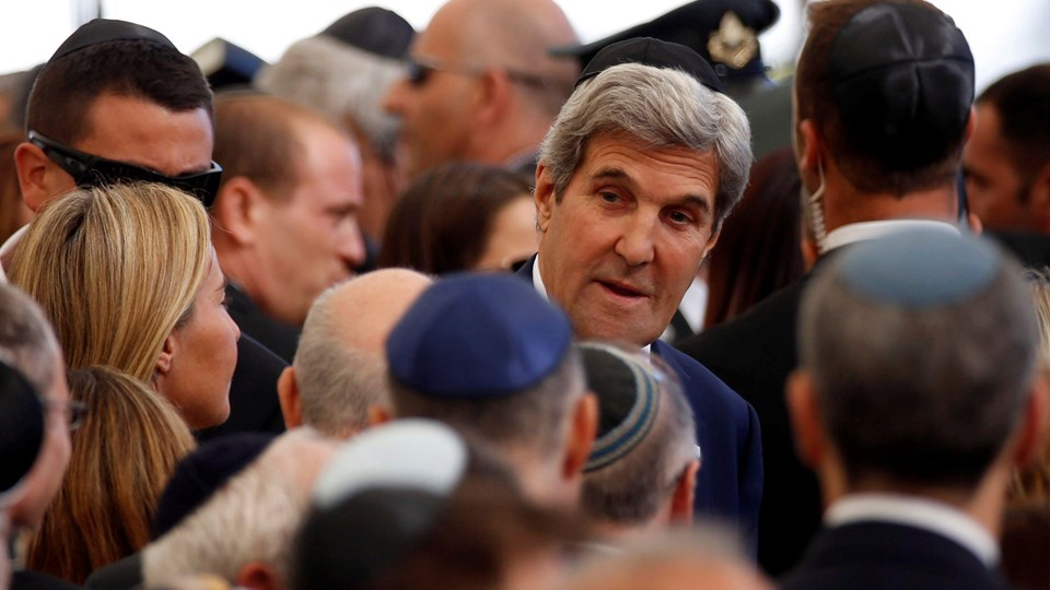 U.S. Secretary of State Kerry is seen upon arrival to attend funeral of former Israeli President Peres at Mount Herzl cemetery in Jerusalem Foto: Reuters/Baz Ratner