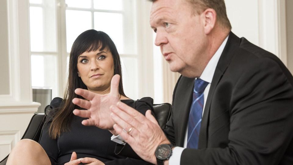 Det er statsminister Lars Løkke Rasmussen (V) og minister for offentlig innovation Sophie Løhde (V), der præsenterer planerne om udflytning af statslige arbejdspladser onsdag. Arkivfoto: Scanpix/Søren Bidstrup