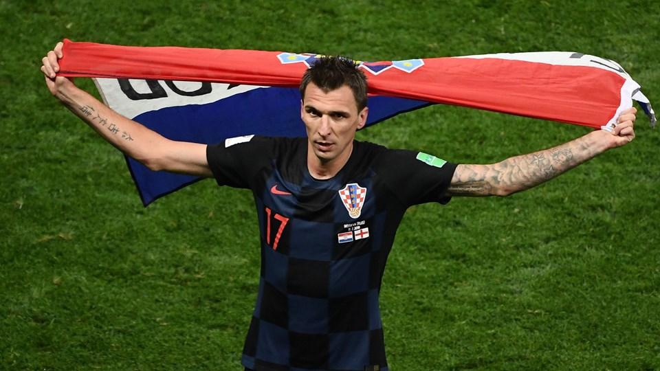 Den kroatiske angriber Mario Mandzukic sendte onsdag Kroatien i VM-finalen med en scoring i forlænget spilletid mod England. Foto: Jewel Samad/Ritzau Scanpix