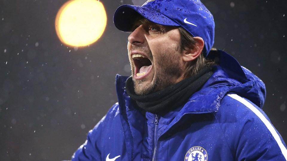 Chelsea-manager Antonio Conte er meget levende på sidelinjen under holdets kampe. Foto: /ritzau/AP/Mike Egerton/arkiv