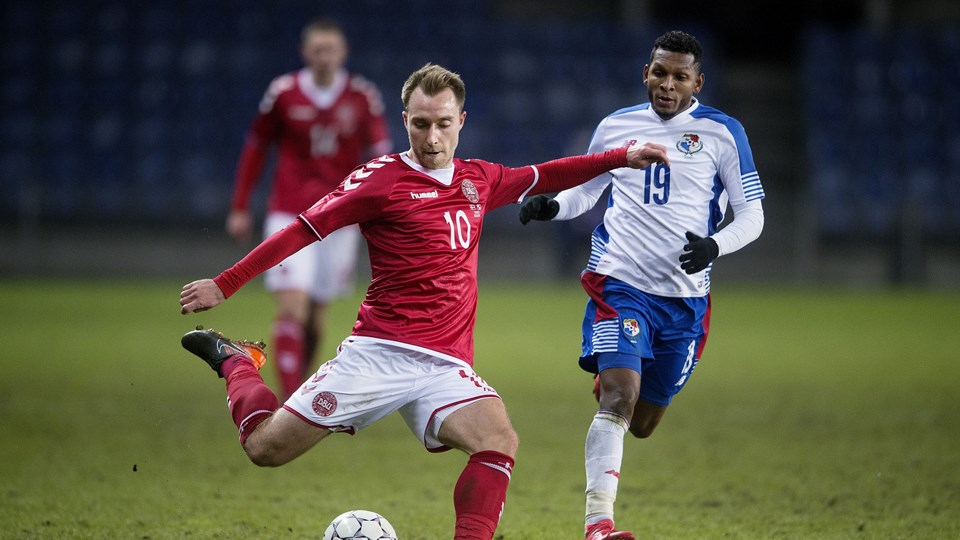 Christian Eriksen var med i Danmarks 1-0-sejr over Panama. Danmark scorede, efter Eriksen var skiftet ud. Foto: Scanpix/Liselotte Sabroe