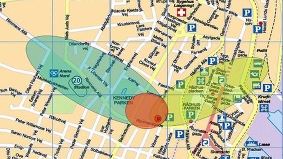 """Sådan illustrerer skolebestyrelsen visionen om Midtbyens Skole som erstatning for Ørnevejens Skole. Midt i den orange cirkel er vuggestue, børnehave, skole og gymnasium. Det grønne """"blad"""" er symbol på idrætsfaciliteter, og det gule henviser til kultur og formidling. Det er super, synes nogen, mens andre kalder det plidder-pladder."""