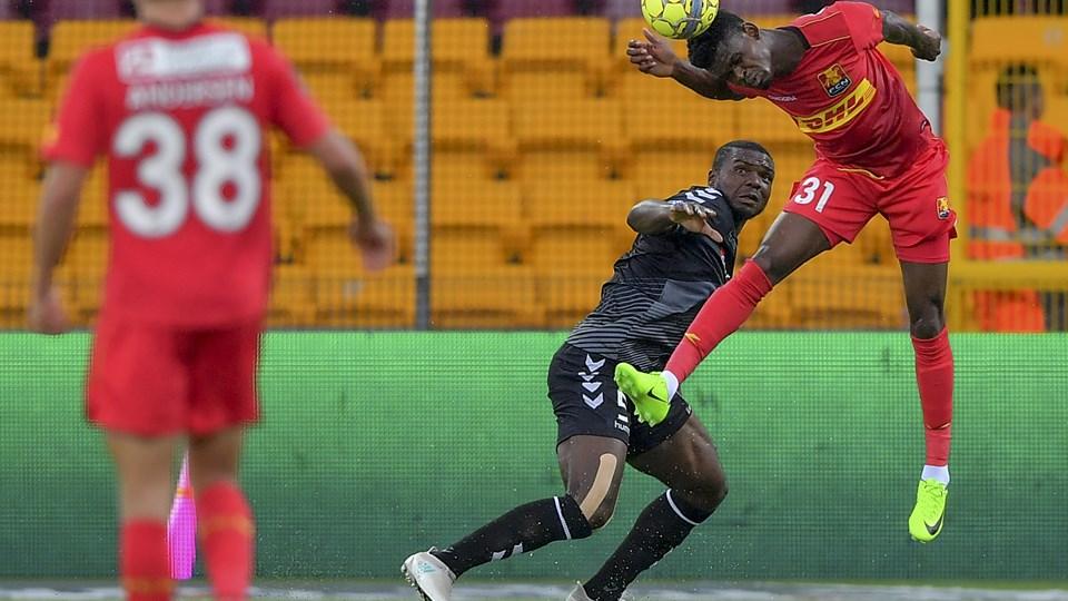 Jores Okore i aktion mod sin gamle klub, FC Nordsjælland. Foto: Nicolas Cho Meier