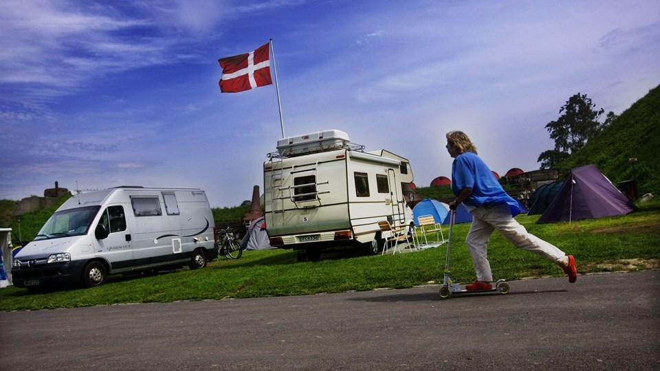 Campingpladserne i Danmark var mere end almindeligt fyldte i 2018, viser tal fra Danmarks Statistik. (arkivfoto)