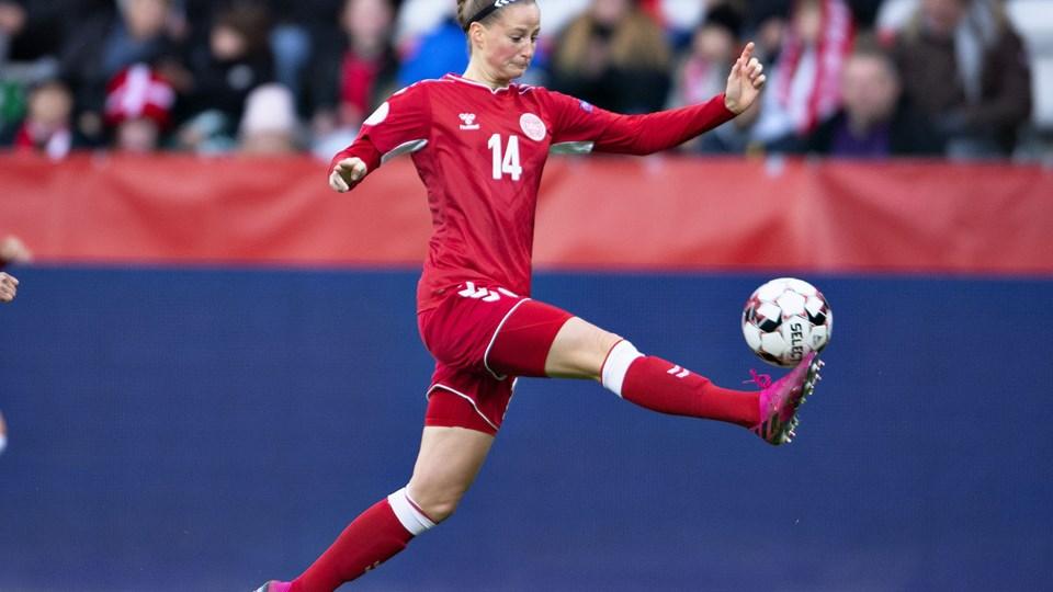 Nicoline Sørensen bragte Danmark på 2-0. Foto: Ritzau Scanpix