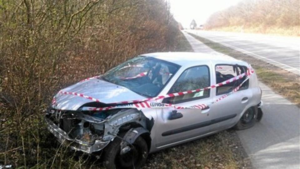 Ulykke i Brønderslev. Tre unge blev kvæstet. Foto: Kurt Bering.