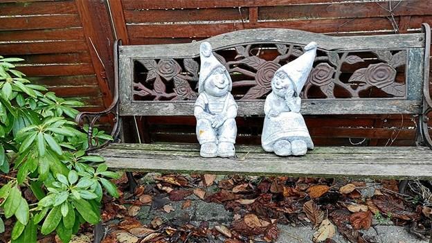 Hygge på den gamle havebænk. Foto: Jørgen Larsen