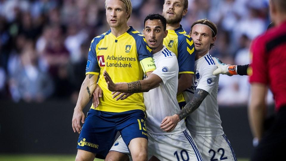 Der er tilfredshed i Brøndby-lejren med 1-1 ude mod FCK. Foto: Scanpix/Liselotte Sabroe