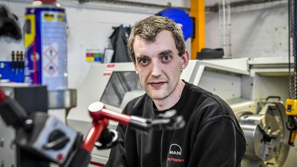 Kristian Jensen startede i lære som industritekniker hos MAN Energy Solutions i Frederikshavn 18. februar. Foto: Kim Dahl Hansen