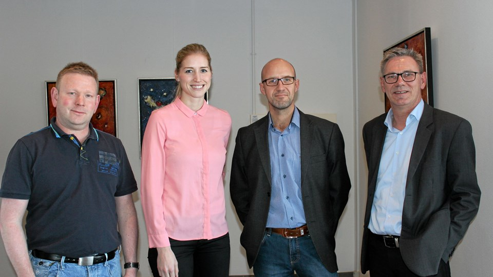 Begge parter var tilfredse med møderne. Fra venstre ses Thomas Jensen, MJ-Byg, Katrine Skjerpan, Hent A/S, Flemming Jensen, B6 Gruppen, samt konsulent Ejvind Schiønning fra Nordjysk Erhvervsfremstød Norge.