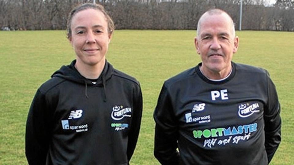 Carrie Kveton og Peter Enevoldsen., hhv. træner og ny assistenttræner. Foto: Fortuna Hjørring