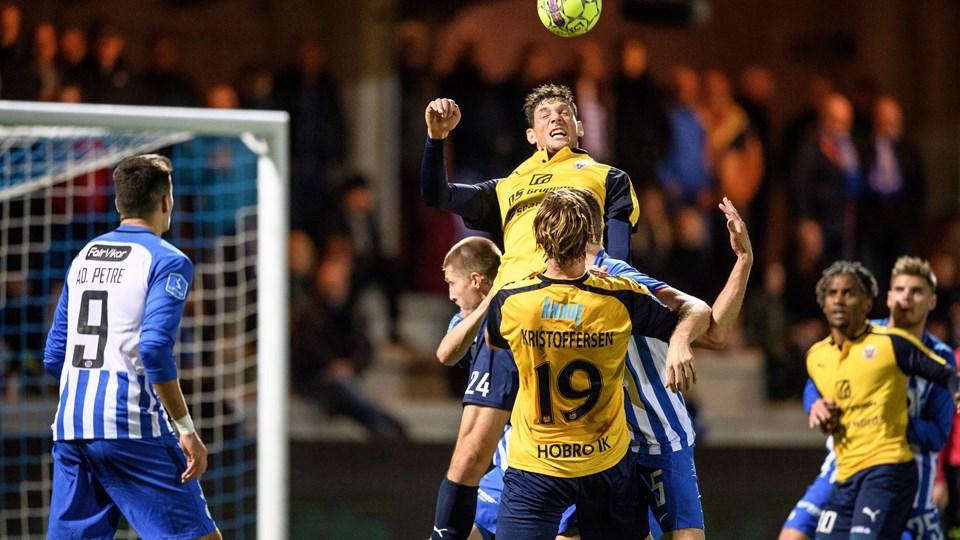 Hobro IK og Rasmus Minor (nr. 24) har haft fokus på at tætne den defensiv, som hidtil i Superliga-sæsonen har lukket flest mål ind af alle hold. Arkivfoto: Nicolas Cho Meier