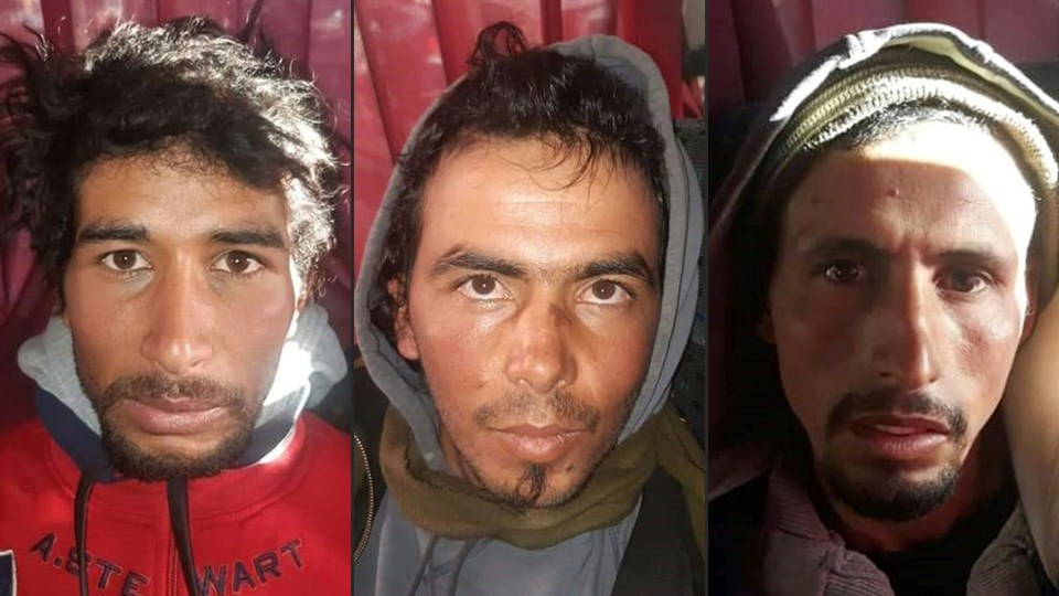 De tre dødsdømte Rachid Afatti (tv.), Ouziad Younes (mf.), and Ejjoud Abdessamad ses her. Abdessamad og den 27-årige tømrer Younes erkendte under retssagen at have dræbt kvinderne, mens den tredje dødsdømte tilstod at have filmet drabene på sin mobiltelefon.