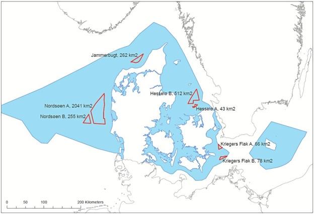 Jammerbugten er nu i spil som hjemsted for en af tre store havvindmølleparker. De tre andre udpegede områder er Nordsøen, Hesselø og Kriegers Flak. Møllerne kommer til at ligge mindst 15 kilometer fra kysten. Kort: Energiministeriet