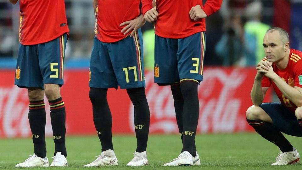 Spanien tabte 3-4 i straffesparkskonkurrencen til Rusland. Foto: Carl Recine/Reuters