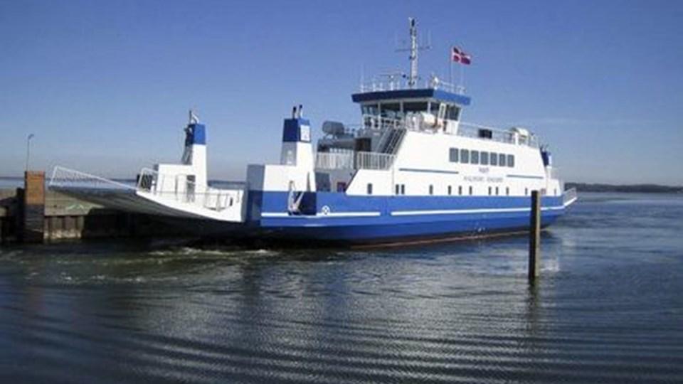 Færgen Mary er stadig på værft i Assens, men det har knebet for kommunen med at få den besked ud til bilisterne. Arkivfoto