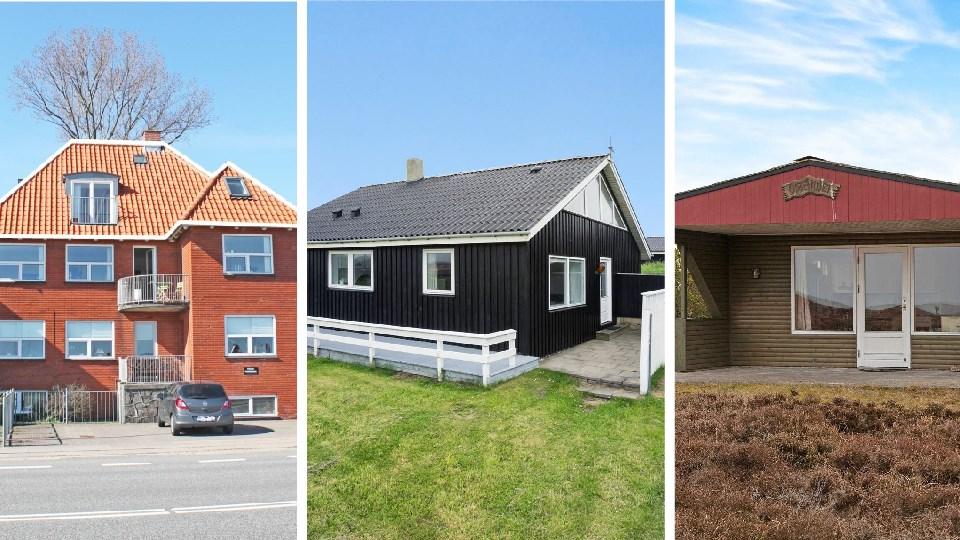 Skippergade 34 i Frederikshavn, Hybenvej 10 i Løkken og Fasanstien 6 på Læsø er blandt de mange nordjyske boliger, der kan købes med havudsigt til under en million kroner. Fotocollage: Christian Made Hagelskjær