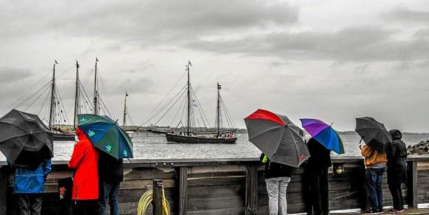 Det var paraplyernes morgen ved havnen. Foto: Mogens Lynge