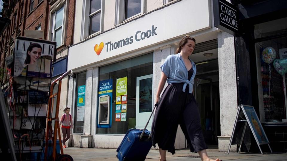 Det britiske rejseselskab Thomas Cook, der blandt andet ejer Spies, har søgt om konkursbeskyttelse under de amerikanske Chapter 15-regler. Men allerede søndag er der fare for, at rejsegiganten vil gå konkurs, skriver nyhedsbureauet TT. (Arkivfoto)