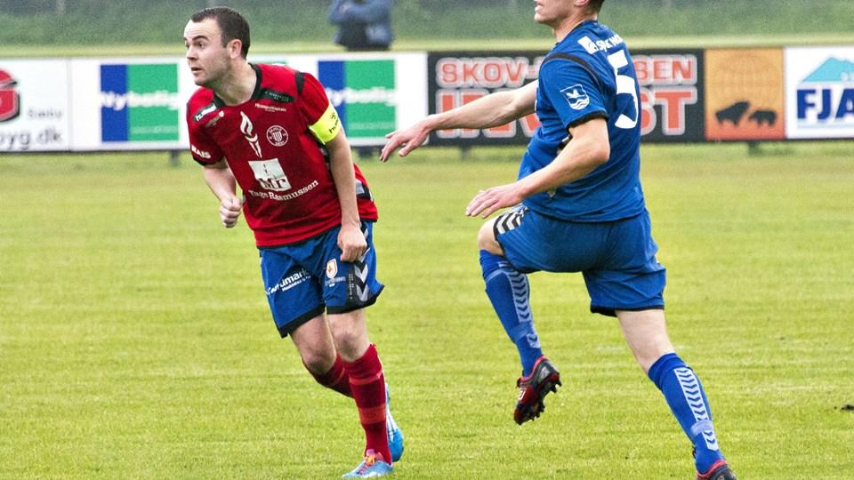 Patrick Nødgaard, tv., forventes at være tilbage hos IF Skjold Sæby i næste hjemmekamp mod Hornbæk SF.Arkivfoto: Kim Dahl Hansen