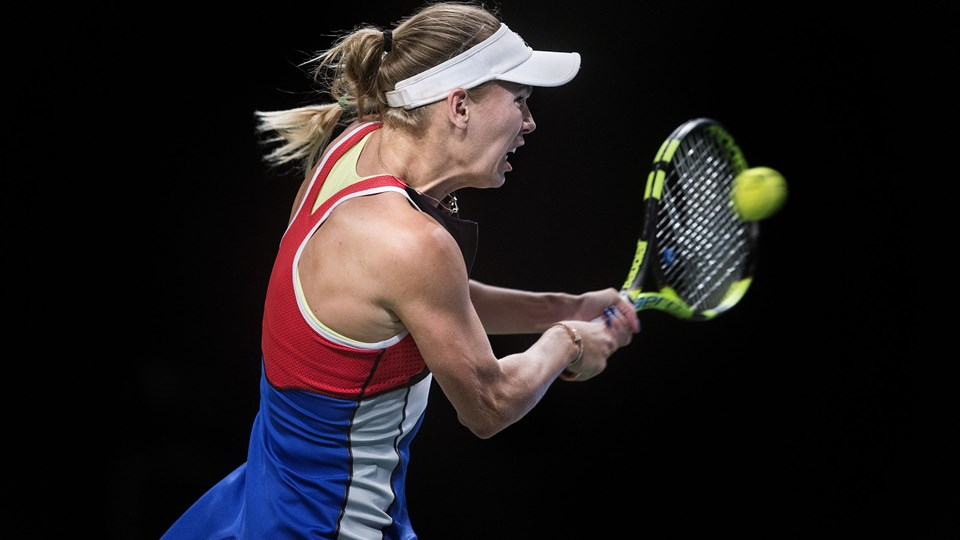 Caroline Wozniacki er videre til anden runde af Madrid Open efter sikker sejr over Daria Gavrilova fra Australien. Arkivfoto: Scanpix/Liselotte Sabroe