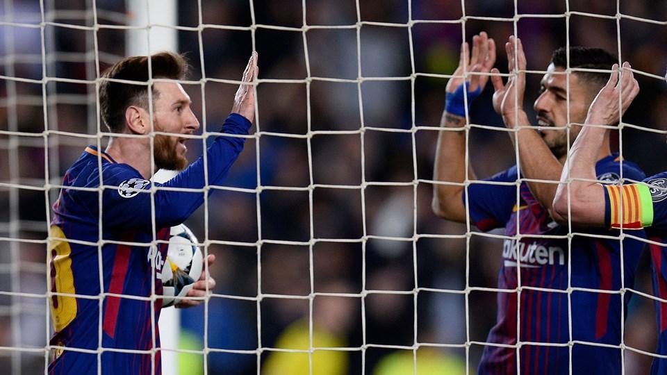 Argentinas Lionel Messi og Uruguays Luis Suarez, der begge spiller for FC Barcelona, bakker op om de tre sydamerikanske landes fælles plan om at blive værter for VM-slutrunden i fodbold i 2030. Foto: Scanpix/Josep Lago/arkiv