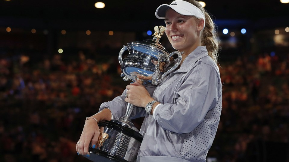 Caroline Wozniacki vandt lørdag sin første grand slam titel, da hun vandt Australian Open Foto: Reuters/Issei Kato