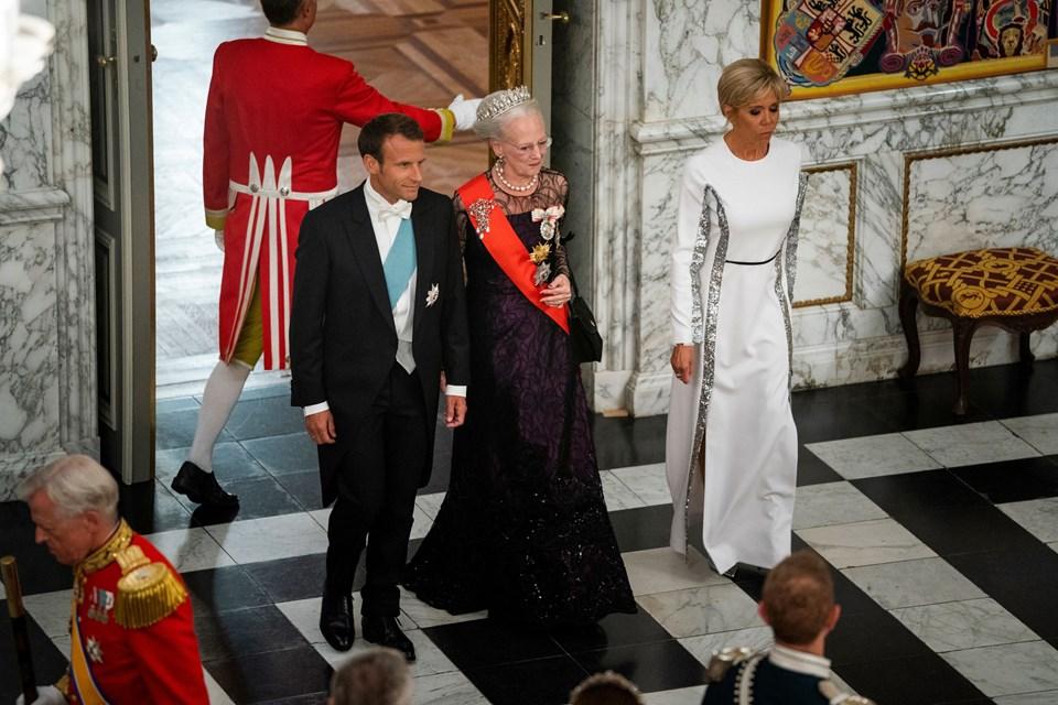 Dronning Margrethe, Den franske præsident Emmanuel Macron og Den franske præsidenthustru Brigitte Macron. Foto: Martin Sylvest/Scanpix Ritzau