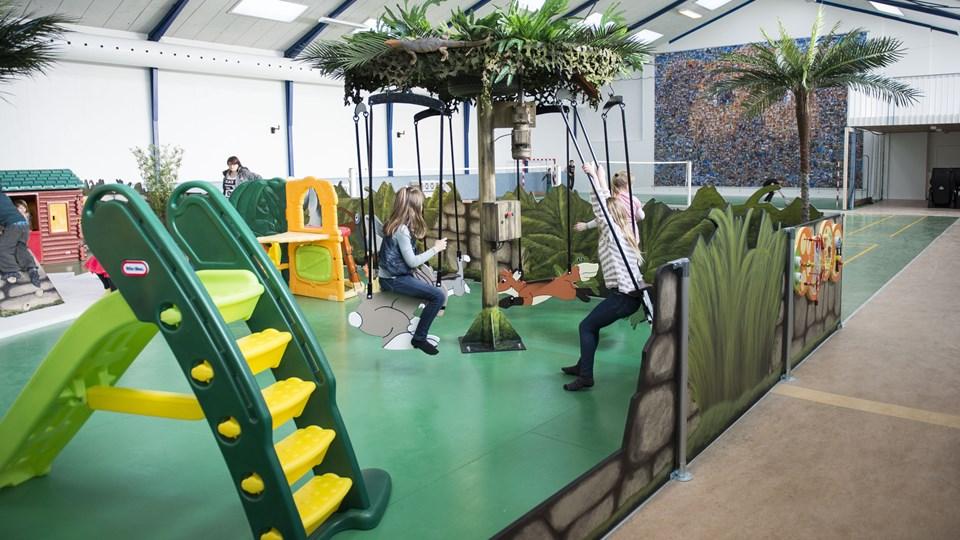 Legehallen i Jesperhus Feriepark skal bygges om for seks mio. kr. og forvandles til nyt legeland baseret på kendte figurer fra parkens Hugo shows. Arkivfoto: Diana Holm