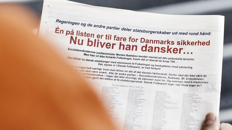 Ifølge Højesteret er en tidligere avisannonce fra Dansk Folkeparti ikke krænkende. Foto: Scanpix/Jeppe Bjørn Vejlø/arkiv