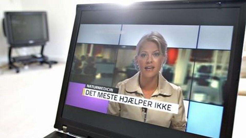DR Nyheders bud på nyheds tv på nettet ER NETOP GÅET I i luften. Lotte Thor er formiddagens studievært på websiden, hvor der vises gratis nyhedsklip. Foto: Scanpix