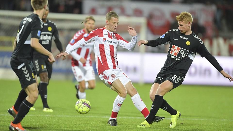 Kasper Kusk var en af banens bedste , da AaB slog AC Horsens onsdag aften. Foto: Bente Poder