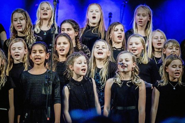 Mariagerfjord Spirekor synger i forbindelse med Julebasaren i Biecentret i Hobro. Privatfoto